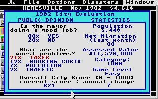 SimCity Atari ST Public opinion