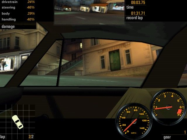 Need for Speed: Porsche Unleashed Windows Looking to the side (passenger window) in Monte Carlo.