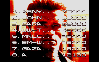 Terminator 2: Judgment Day Atari ST High scores.