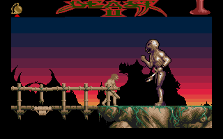 Shadow of the Beast II Atari ST Against an enemy with a sword.