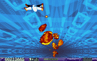 Stardust Atari ST Shooting asteroids in warp sequence.