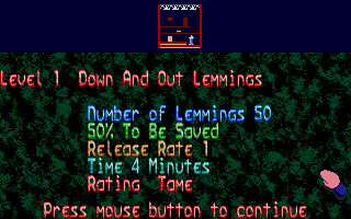 Oh No! More Lemmings Atari ST Level information