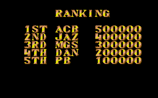 Street Fighter II Atari ST The high score table