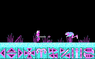 Barbarian DOS A monster attacks. (CGA)