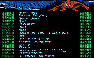 The Amazing Spider-Man DOS High scores.