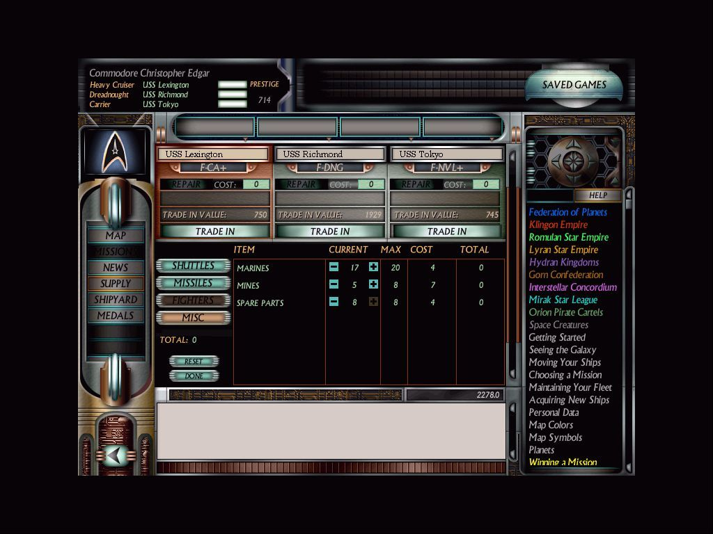 Star Trek: Starfleet Command Volume II - Empires at War Windows Repair and resupply; each cost you prestige points, which you earn after successful missions.