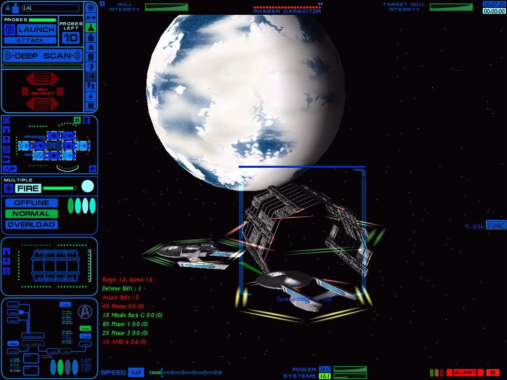 Star Trek: Starfleet Command Volume II - Empires at War Windows Two Federation cruisers assaulting an orbital shipyard.
