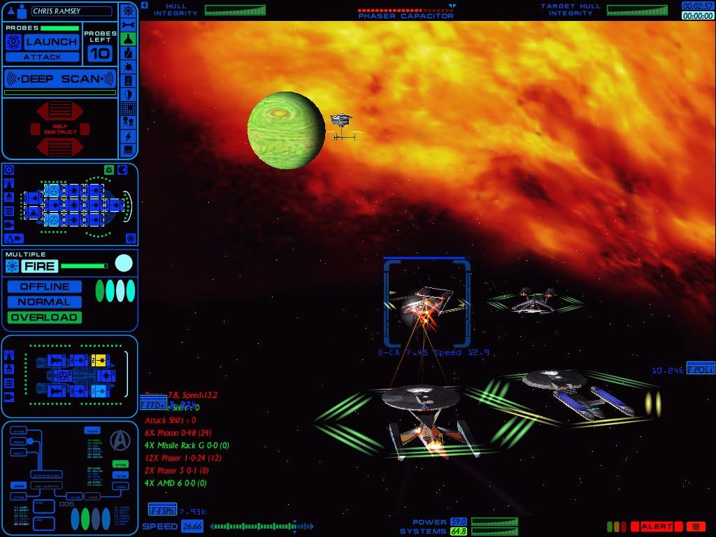 Star Trek: Starfleet Command Volume II - Empires at War Windows The same Federation dreadnought and battlecruiser now facing two Orion Pirate vessels; notice the space station in the background.