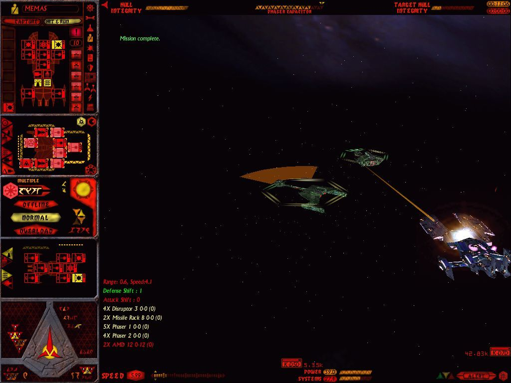 Star Trek: Starfleet Command Volume II - Empires at War Windows Two Klingon cruisers finishing off an ISC carrier.