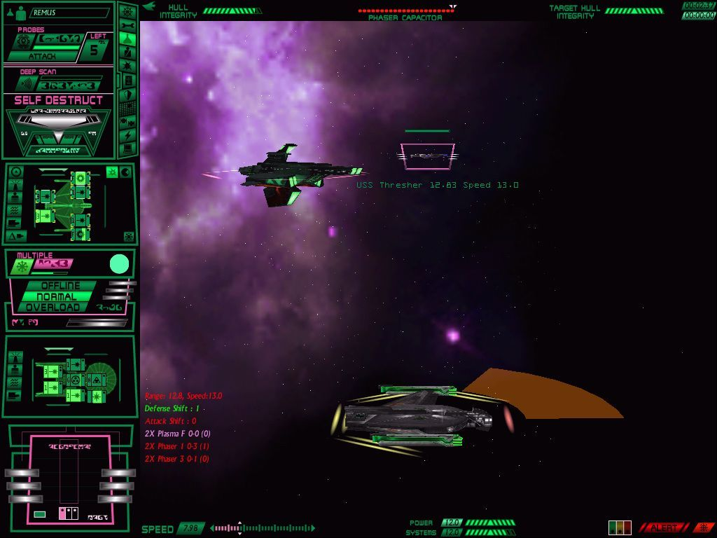 Star Trek: Starfleet Command Volume II - Empires at War Windows A Romulan destroyer defends a freighter against an approaching Federation vessel.