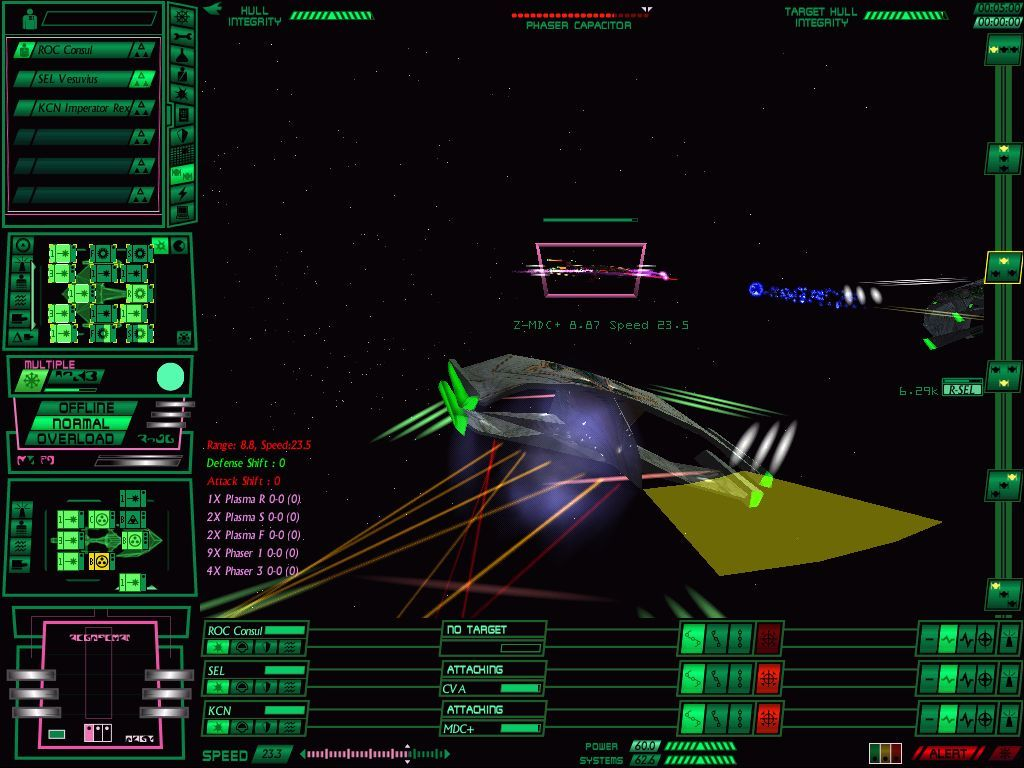 Star Trek: Starfleet Command Volume II - Empires at War Windows The same dreadnought's right front shield is pierced by a phaser barrage.