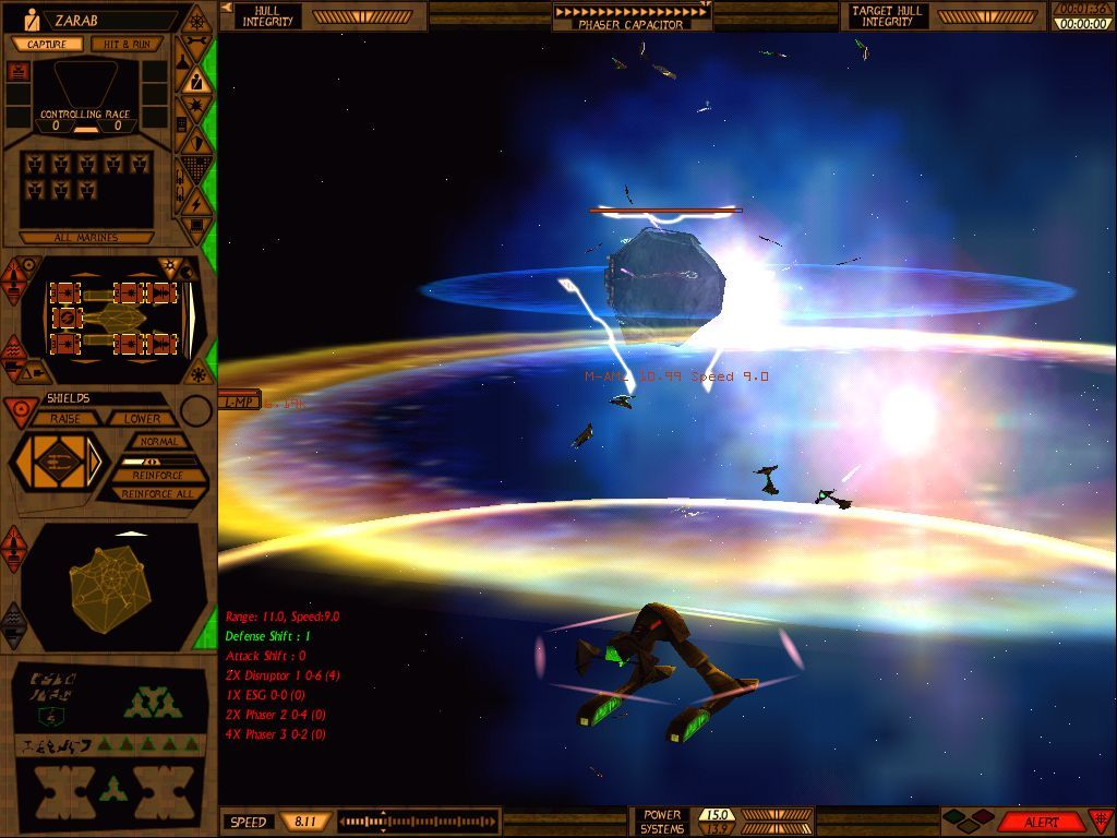 Star Trek: Starfleet Command Volume II - Empires at War Windows More fireworks.  An asteroid-like space monster converts a Lyran frigate into floating debris and dust.