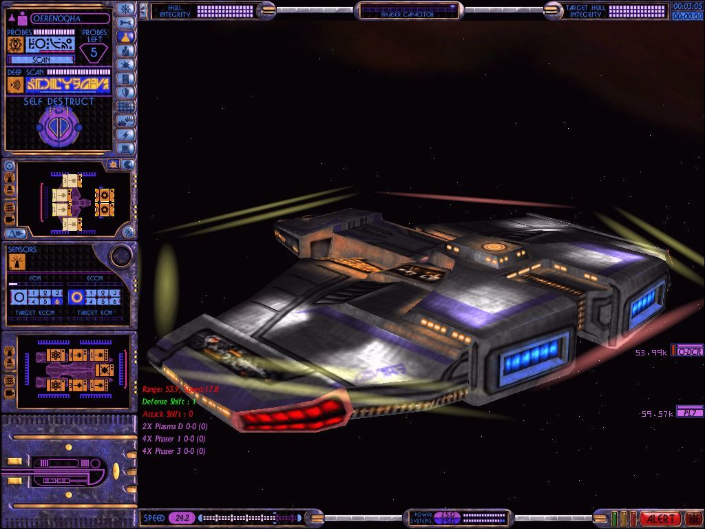 Star Trek: Starfleet Command Volume II - Empires at War Windows Ships in SFC2 are rendered in loving detail; pictured here in close-up is an ISC frigate.