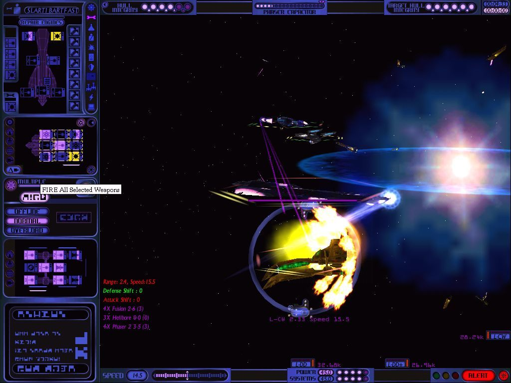 Star Trek: Starfleet Command Volume II - Empires at War Windows Firing a fusion beam and hellbore simultaneously at another hapless Lyran cruiser.