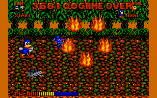 Dynamite Düx Amiga Using water pistol against fire monster.