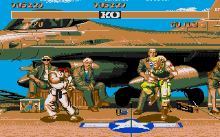 Street Fighter II Atari ST Fighting at army base.