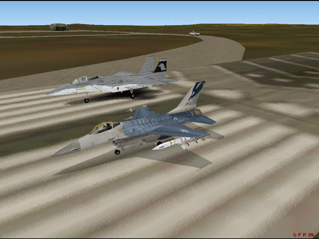 F-16 Multirole Fighter Windows F-16 Fighting Falcon and F-15 Eagle on the runway.