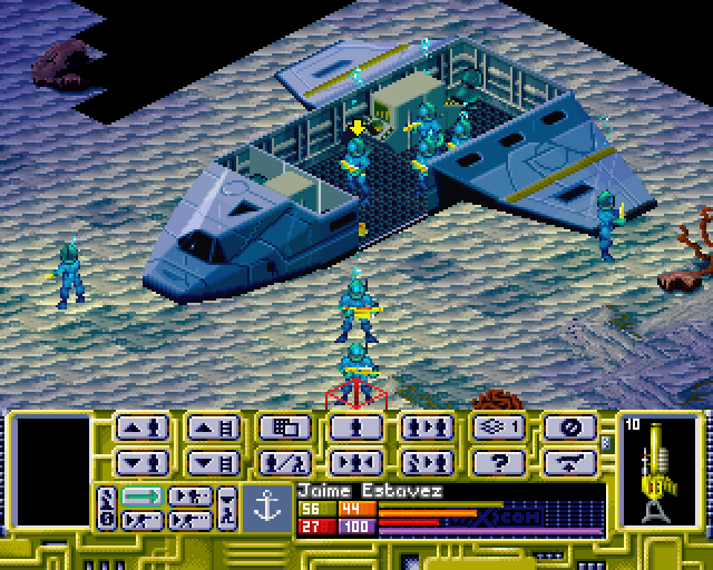 X-COM: Terror from the Deep PlayStation Deploying your units to the crash site.