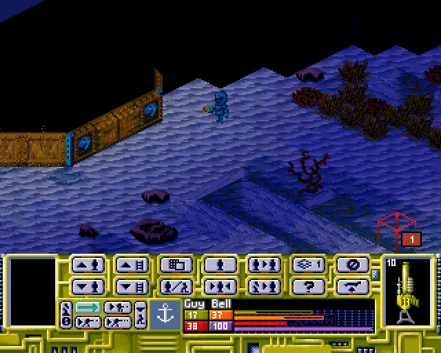 X-COM: Terror from the Deep PlayStation Your aquanaut has spotted an alien outside the downed UFO. Notice the blinking one on the bottom right corner: this shows all the hostiles your aquanaut can see.
