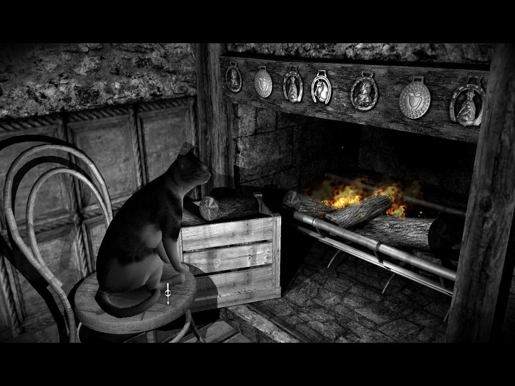 The Lost Crown: A Ghost-Hunting Adventure Windows A cat sitting peacefully by the fireplace.