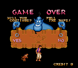 Disney's Aladdin SNES You have 3 continues (3 wishes)