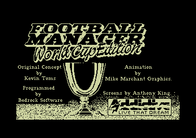 Football Manager: World Cup Edition 1990 Commodore 64 Loading screen and credits