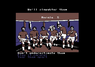 Football Manager: World Cup Edition 1990 Commodore 64 Give 'em a pep talk in the locker room.