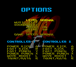 Shaq Fu SNES Options