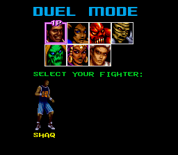 Shaq Fu SNES Select a fighter.