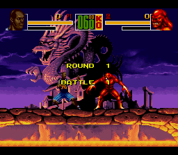 Shaq Fu SNES Start of a fight