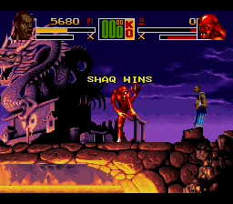 Shaq Fu SNES But won the match.