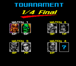 Shaq Fu SNES Tournament matchups