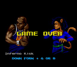 Shaq Fu SNES Game over