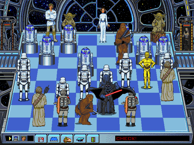 Star Wars Chess DOS Chewie takes on Darth Vader