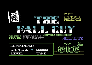 The Fall Guy Commodore 64 Title