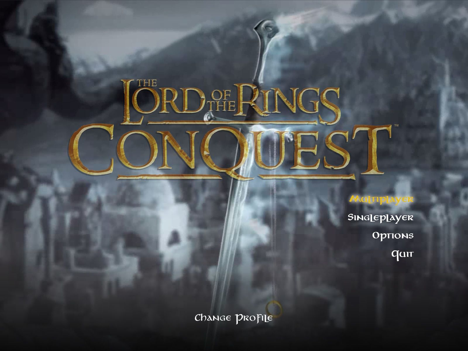 The Lord of the Rings: Conquest Windows Main Menu