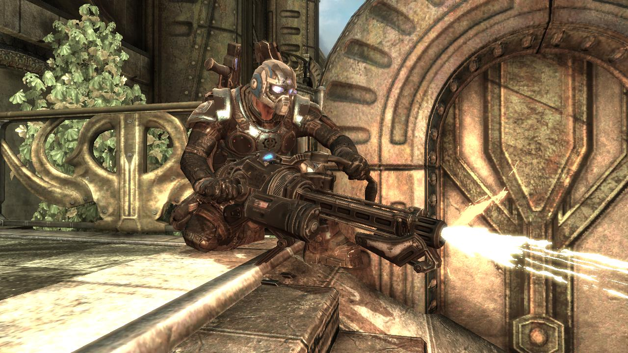 "Gears of War 2 Xbox 360 The ""Mulcher"" heavy machine gun in action"
