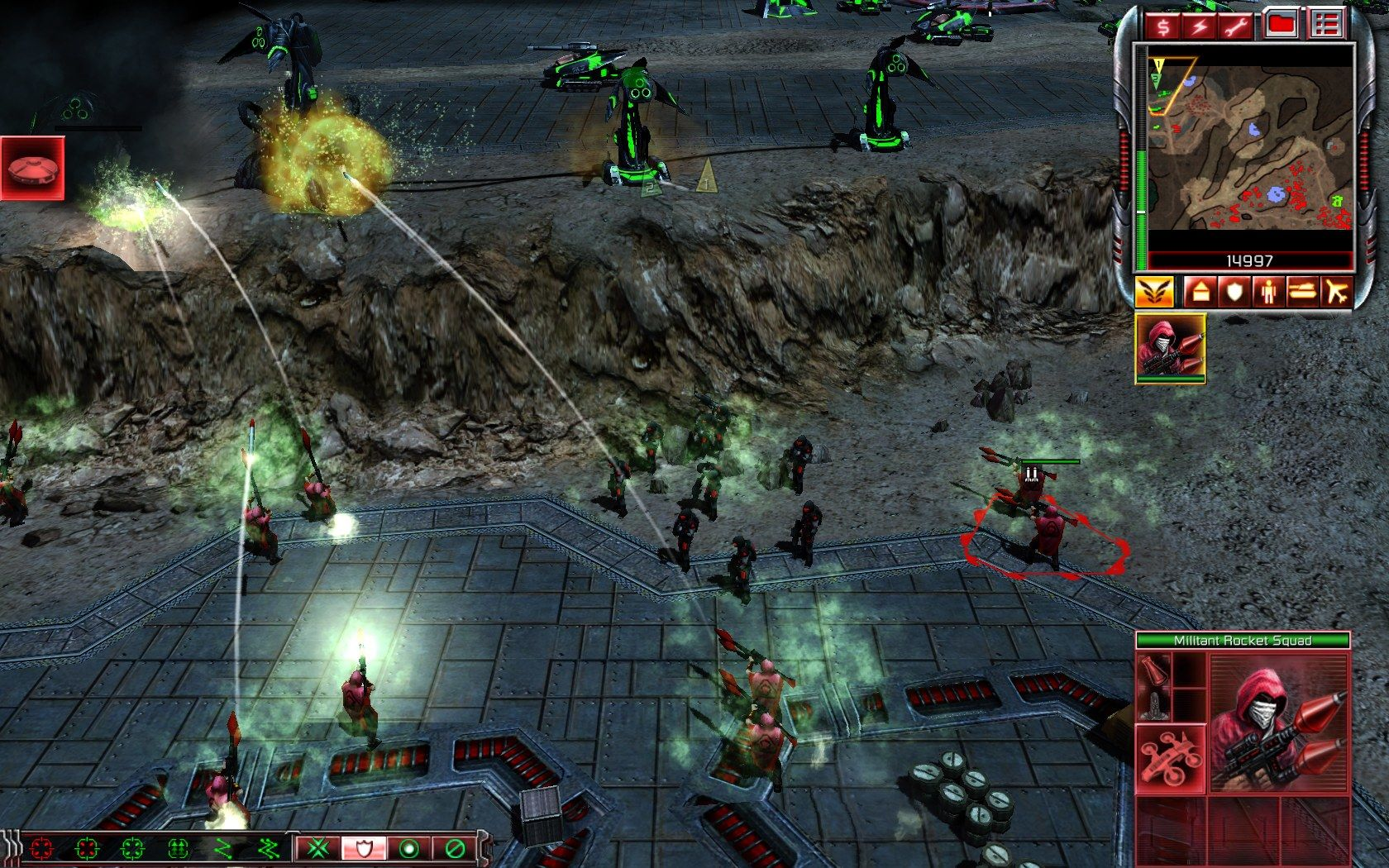 Command & Conquer 3: Kane's Wrath Windows Using rocket squad infantry to take out the anti-air defense turrets.