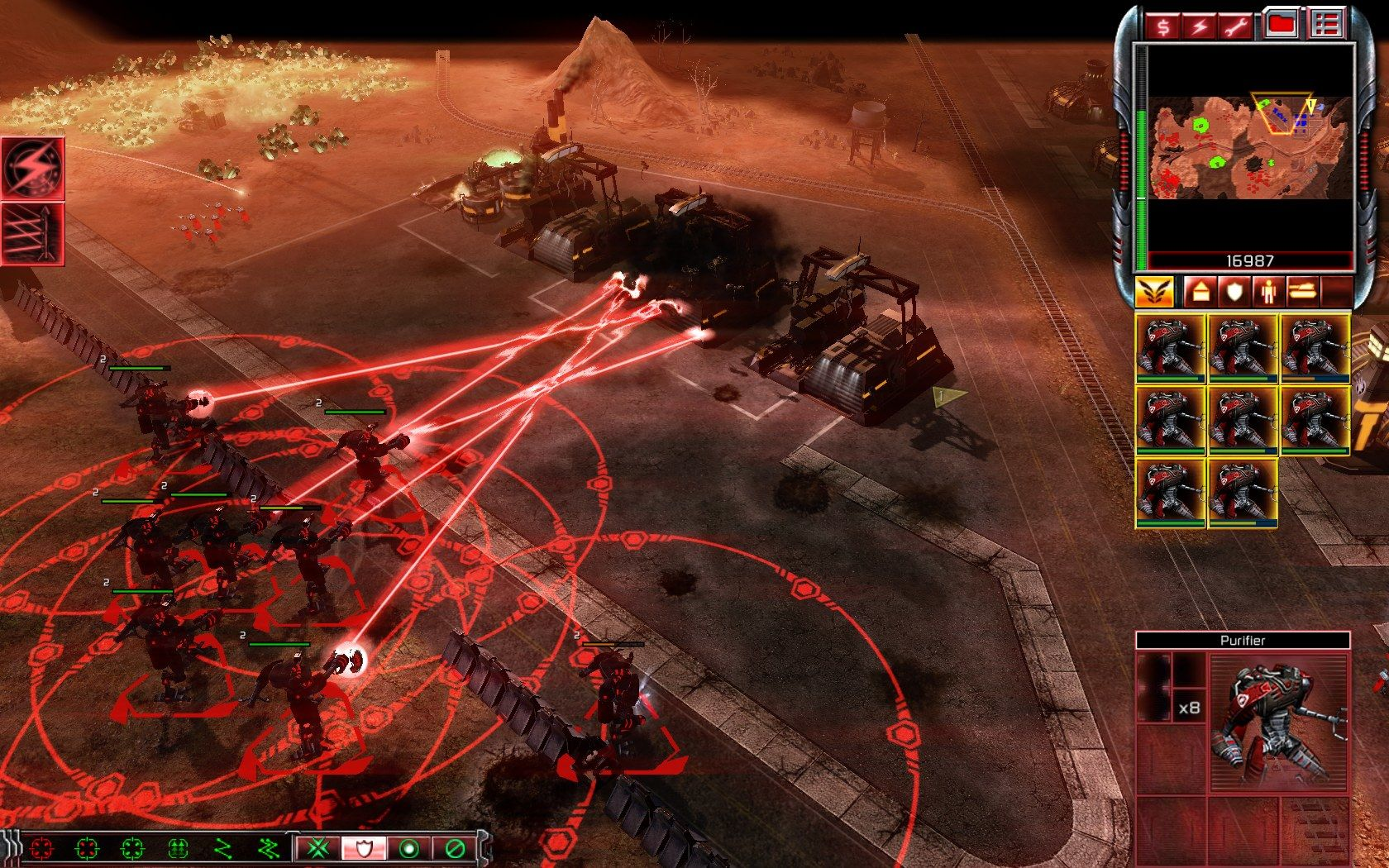 Command & Conquer 3: Kane's Wrath Windows Using Purifiers to take out the enemy base.
