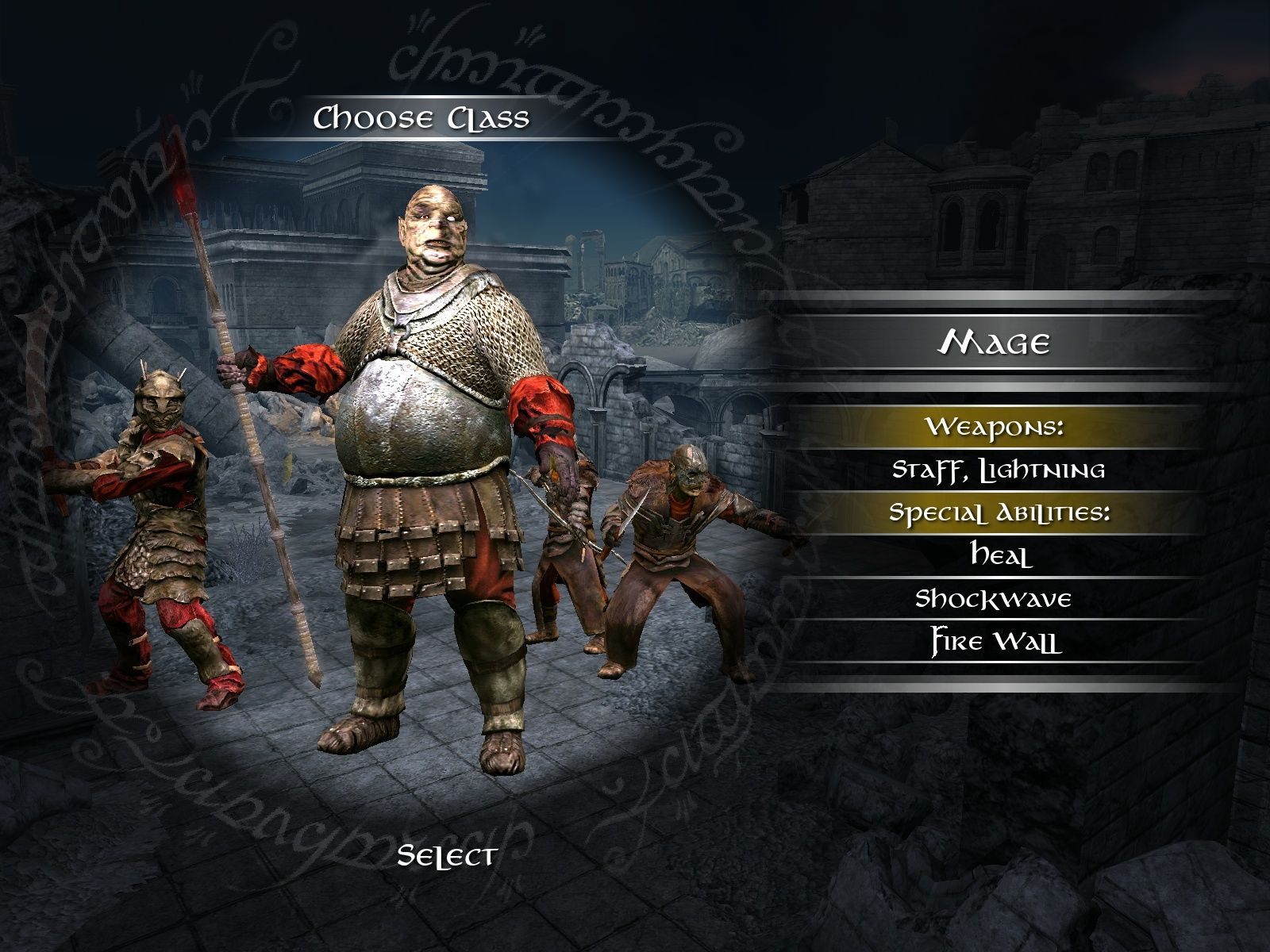 The Lord of the Rings: Conquest Windows Select your class - the evil version.
