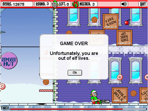 Adventure Elf Browser Game over! (thanks to the bear trap just past the crack.)