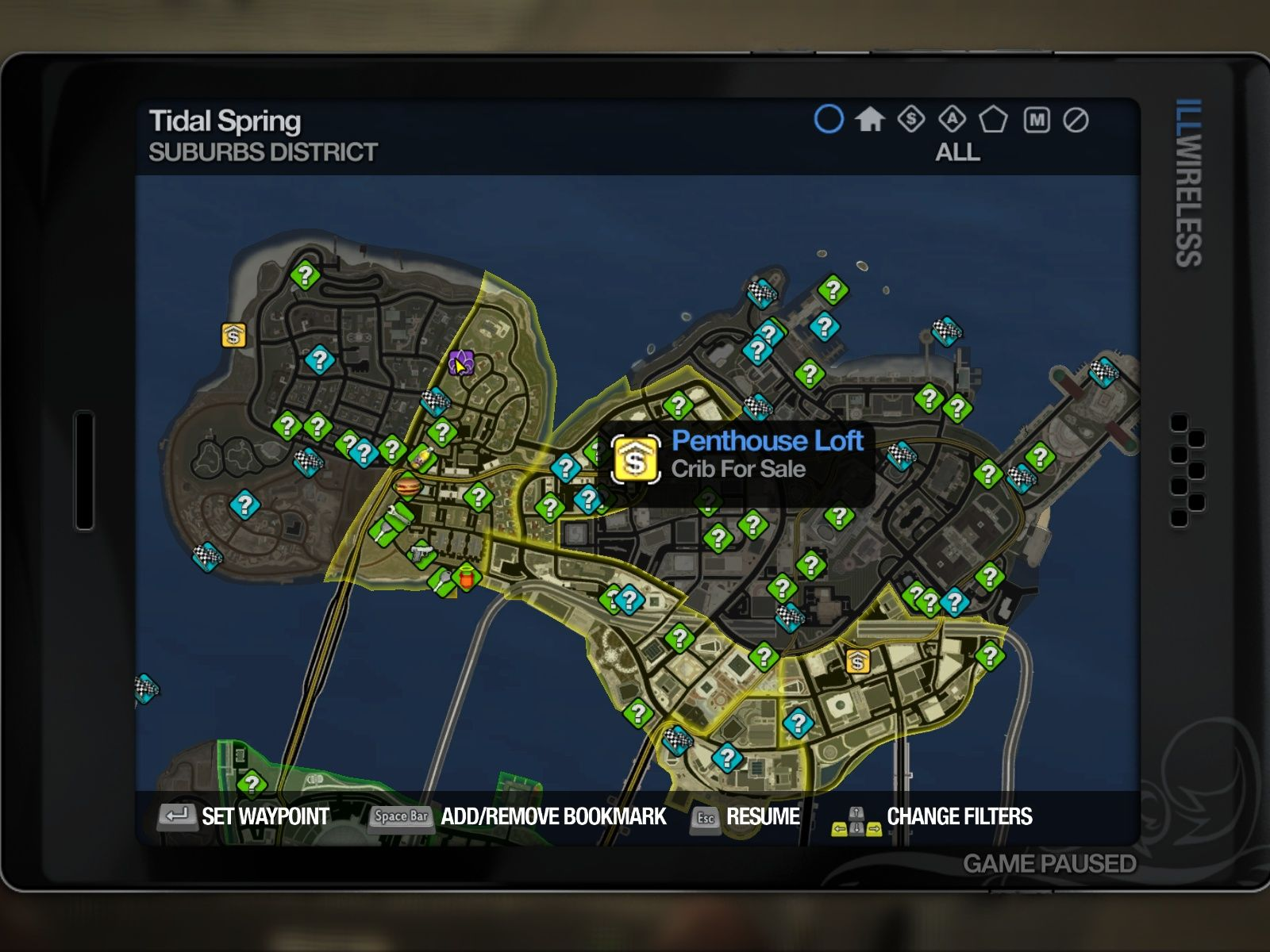 Saints Row 2 Windows The GPS map of the first island.