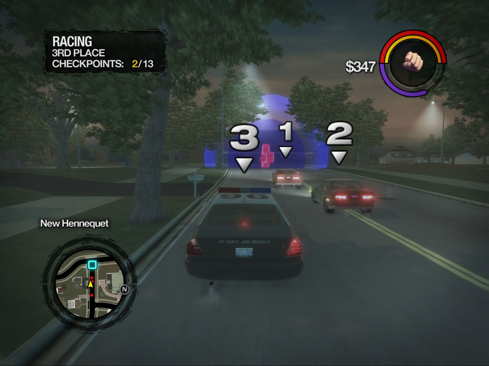 Saints Row 2 Windows Racing in a police car.