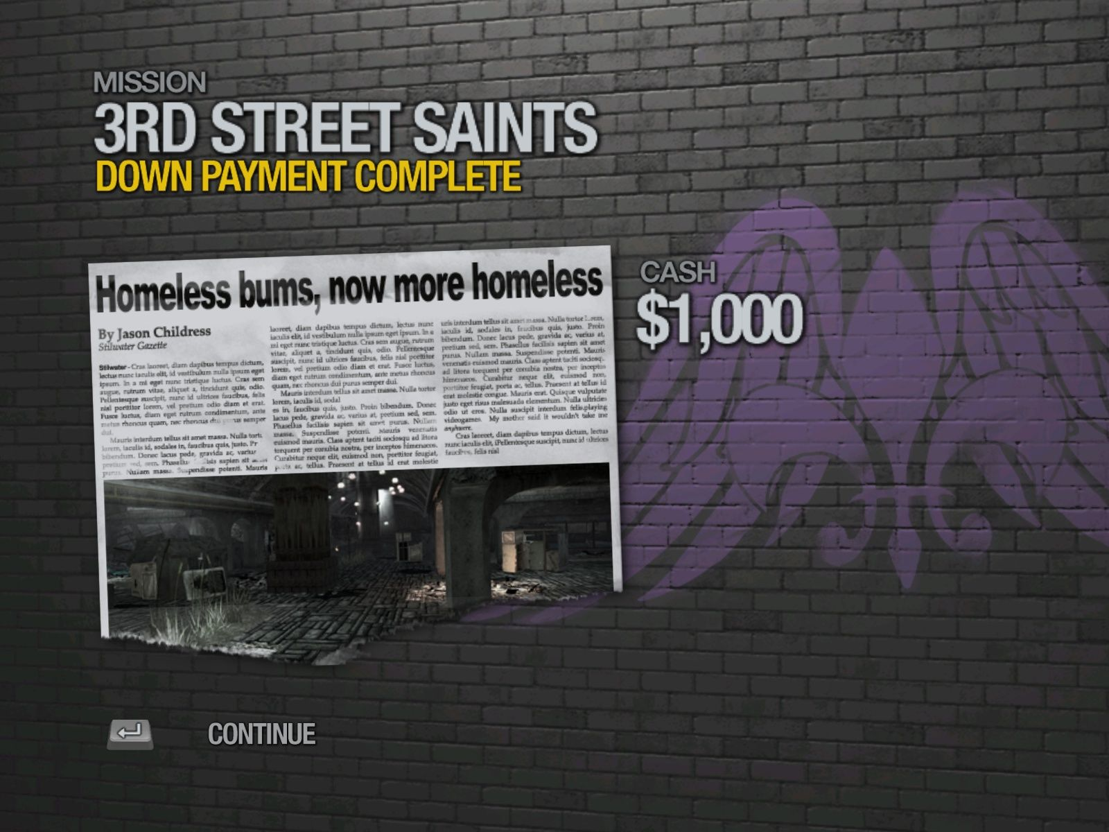 Saints Row 2 Windows The end of mission report features a newspaper headline about your escapades.