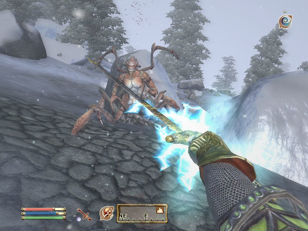 The Elder Scrolls IV: Oblivion Windows Attacking a Land Dreugh with a lightning spell