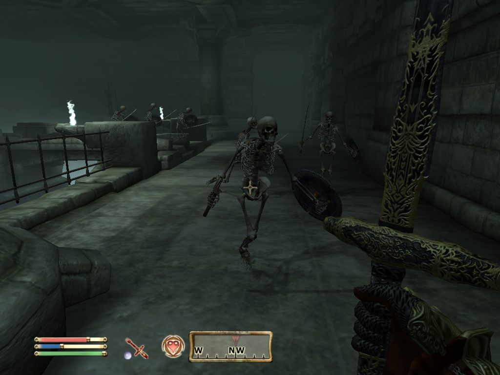 The Elder Scrolls IV: Oblivion Windows A horde of undead Akaviri Warriors is attacking - it's usually best to avoid combat against too many opponents