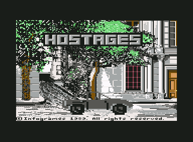 Hostage: Rescue Mission Commodore 64 Title Screen with Terrorists in car