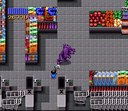 Zombies Ate My Neighbors SNES .... turns into a powerful purple werewolf. Ooooh scary!