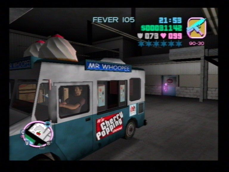 "Grand Theft Auto: Vice City PlayStation 2 Mr Whoopee van sells various, er, ""condiments""."