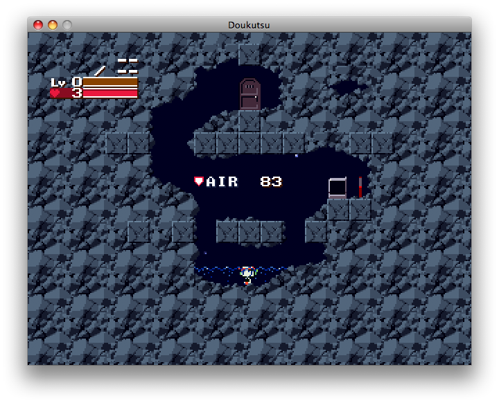Cave Story Macintosh Breathing underwater.